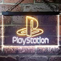 Playstation Game Room Kid LED看板 ネオンサイン バーライト 電飾 ビールバー 広告用標識 ホワイト+イエロー W40cm x H30cm