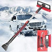 COFIT 3 in 1 車用スノーブラシ、除雪 ほうき アイススクレーパー付き フォームグリップ伸縮式雪ブラシ 車 トラック SUV用 レッド