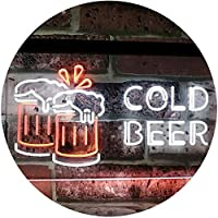 Cold Beer Bar Pub Club Décor Dual Color LED看板 ネオンプレート サイン 標識 白色 + オレンジ色 600 x 400mm st6s64-i2069-wo