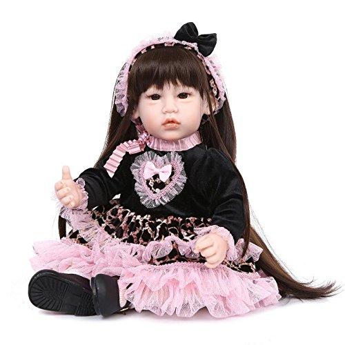 NPKDOLLラブリー玩具人形高ビニル20インチ50センチメートルのリアルな女の子の男の子のギフトピンクブラックハートドレス 人形 Reborn Baby Doll A1JP