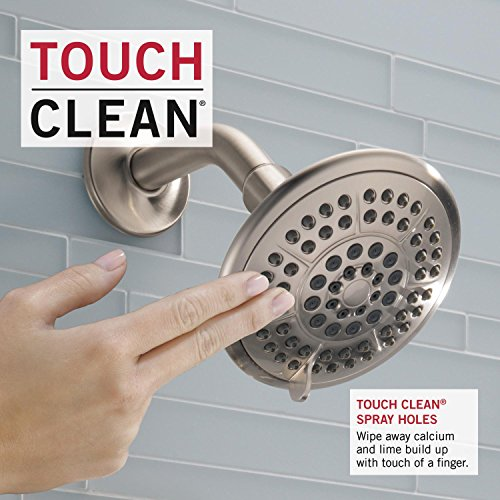 『(Handle + Shower Head + Tub Faucet, Stainless) - Delta T14438-SS Lahara 14 Series Single-Function Tub and Shower Trim Kit with 5-Spray Touch Clean Shower Head, Stainless (Valve Not Included)』の3枚目の画像