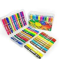 子供用クレヨン 非毒性水、シルキー回転クレヨン 子供用 カラフルなペン油ペステル 36色クレヨンセット - 色塗りブックを送ってください 36 colors ABC123
