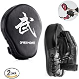 Overmont 2PCS Curved Punch Mitts Punching mitts Boxing Pads Boxing glove target pad with foaming materials for Karate Kickboxing MuayThai MMA Martial Art UFC Brazilian Jiu Jitsu Kick Boxing Practice Black