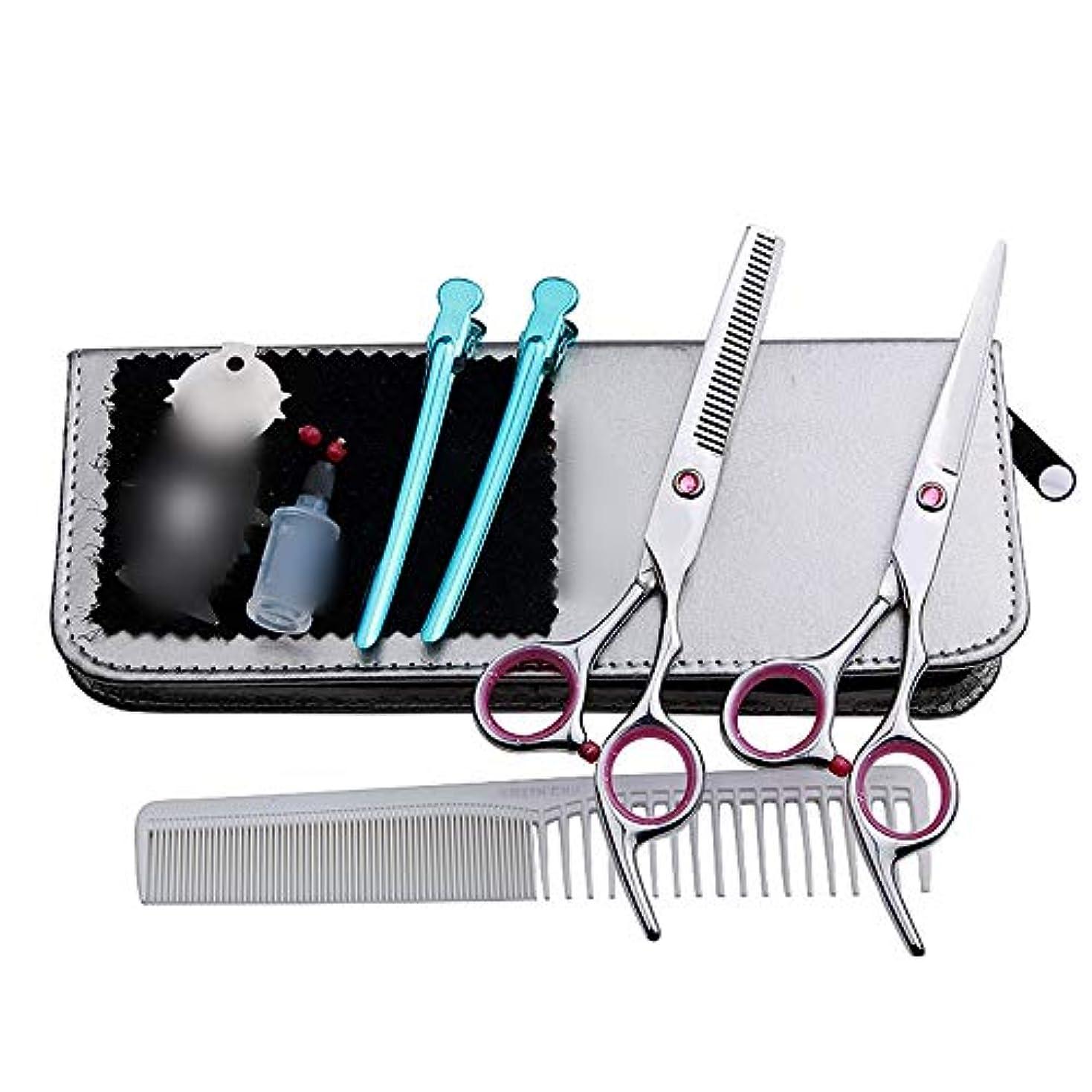 Goodsok-jp 6インチの美容院の専門のヘアカットセット、平らな歯のはさみのヘアカットセット (色 : ピンク)