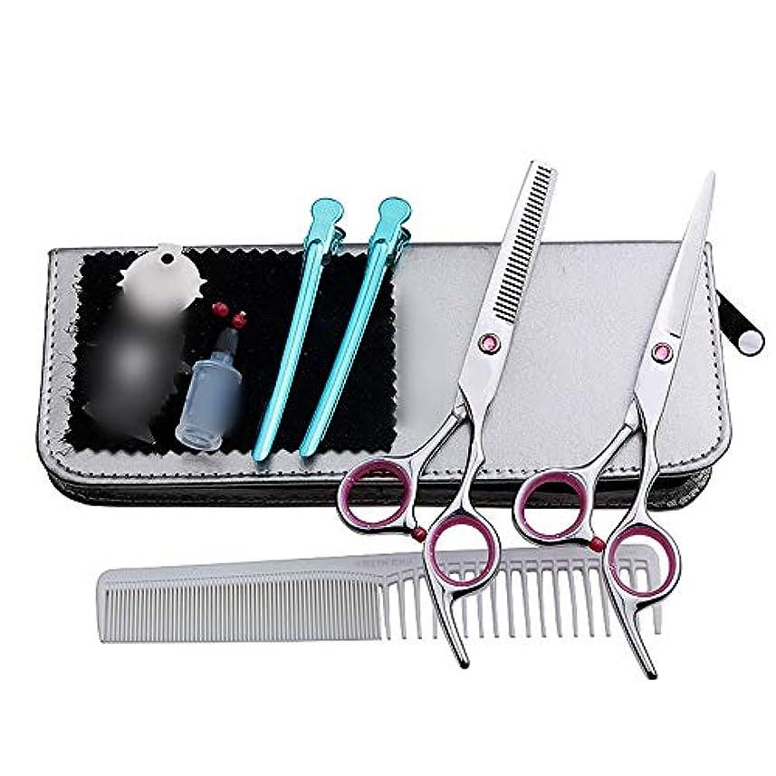 融合テーブルログGoodsok-jp 6インチの美容院の専門のヘアカットセット、平らな歯のはさみのヘアカットセット (色 : ピンク)