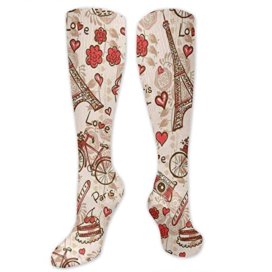 仲良し肉ジャングル男性の女性(20-30 mmHg)のためのQrriyパリエッフェル塔花3 D圧縮靴下