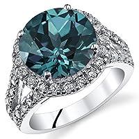 7.00Carats Simulatedアレキサンドライト婚約指輪スターリングシルバーサイズ5to 9