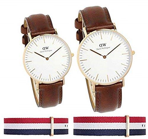 [ダニエル ウェリントン] Daniel Wellington 腕時計 ペアウォッチ クラシック ブラウン NATOストラップ付き (ブラウン)