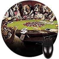 Dogs Playing poker-ラウンドマウスパッド–スタイリッシュな、耐久性オフィスアクセサリーとギフト