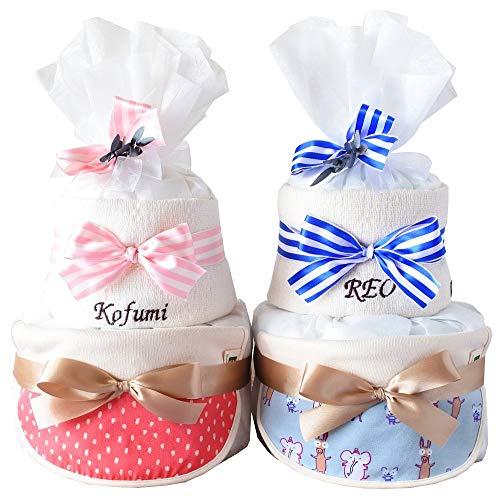 出産祝い おむつケーキ GOTS認証 北欧 オーガニック 今治 タオル 名入れ おしゃれ (M, アニマル スタイ)
