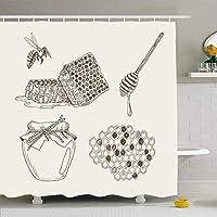 QDYLM 刻まれたヴィンテージ天然蜂蜜要素ハニカムレトロオブジェクトミルク缶スプラッシュジャムマイクロファイバー浴室シャワーカーテン高品質ポリエステル生地71 x 71インチを印刷