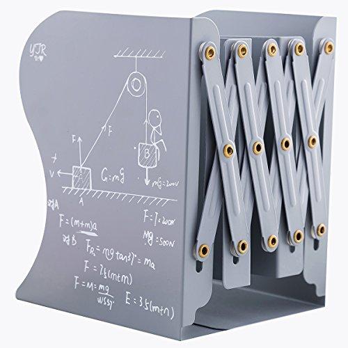 GUKE 本立て ブックスタンド 伸縮型 金属製 卓上収納 ファイル/雑誌/新聞/書類入れ 多機能 事務用品 (グレー)