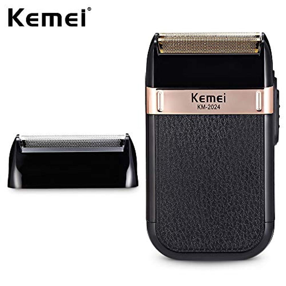 属性重さ批判Kemei-2024 usb充電電気かみそり男性代替ダブルブレードシェーバーかみそり防水ひげトリマーシェービングマシン