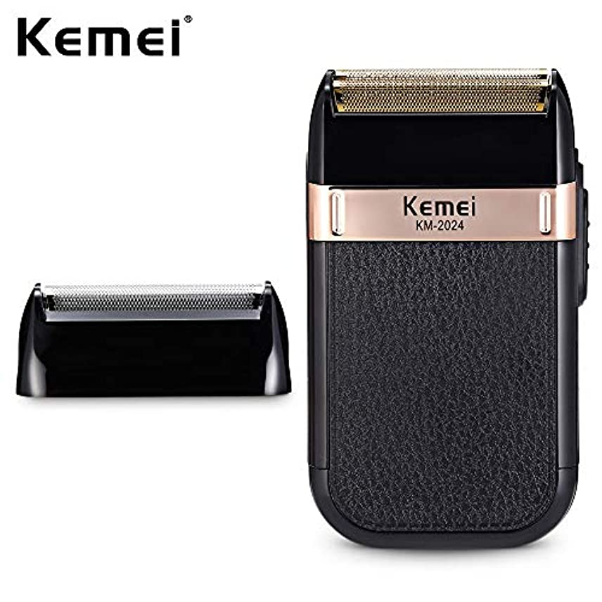 慢贈り物誤解するKemei-2024 usb充電電気かみそり男性代替ダブルブレードシェーバーかみそり防水ひげトリマーシェービングマシン