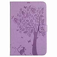 Yiizy Apple IPad Mini 4 ケース 手帳型 カバー 本革ソフトレザー 対応 ケース カードポケット スタンド機能 マグネット式 財布型 カバー 猫と木 (薄紫)