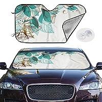 車用 サンシェード フロントガラス 日除け 車窓 水蘭 花柄 スイレン カーフロントカバー 吸盤取付 普通車/軽自動車/SUVに適用