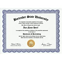 Bartender Bartend Bartending Degree: Custom Gag Diploma Doctorate Certificate (Funny Customized Joke Gift - Novelty Item) by GD Novelty Items [並行輸入品]