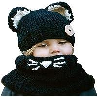 ba knife Kids Winter Knitted Hood Scarf Beanies Ear Warmers Cartoon Fox Rabbit Bear Cloak Woolen Cap Coat 2 Piece Sets