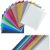 """CISinks 15シート12"""" x10"""" (Assorted Colors) DIY Glitter熱転送ビニールのTシャツ–Iron onまたは熱押しシルエットカメオのマシン& Cricutビニール"""
