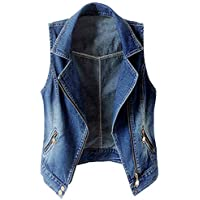 Kedera Women's Sleeveless Lapel Denim Vest Button Up Waistcoat Cropped Jacket