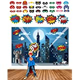 Superhero Party Supplies Kit with 7ft Superhero Backdrop 28 Superhero Masks & 6 Jumbo Party Photo Booth Props in a Fun Gift Box