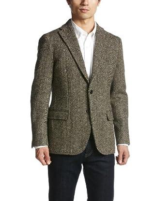Herringbone Tweed Jacket 1122-157-3487: Brown
