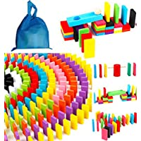 ドミノ 仕掛 積み木 ブロック 天然 木製 ピタゴラスイッチ 知育 玩具 12色 200個 + ギミック 14種類 セット 巾着袋入り