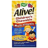 海外直送品Nature's Way Alive Children's Multi-Vitamin Chewable Tablets, 120 chews (Pack of 4)
