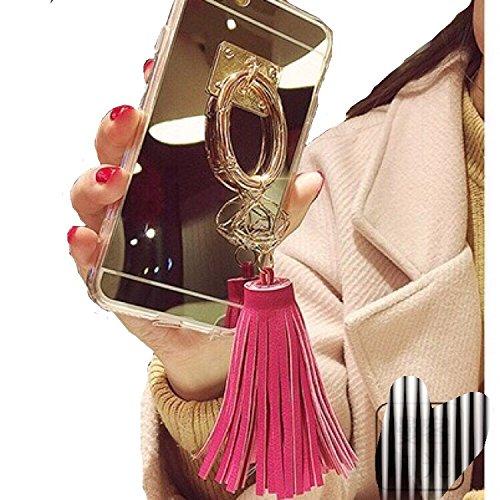 Spinas(スピナス) スマホケース iPhone 6/6s/6 plus/6s plus リング タッセル ミラー 鏡 キラキラ かわいい 指掛け 女子 ゴールド 全3色 グレー ピンク ショッキングピンク (6plus/6splus , ショッキングピンク)
