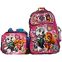 """Paw Patrol Girls 16"""" Backpack + Lunch Box + White/Pink Water Bottle -"""