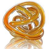 プレゼント に ガラス製 ペーパーウェイト (オレンジ系統色)