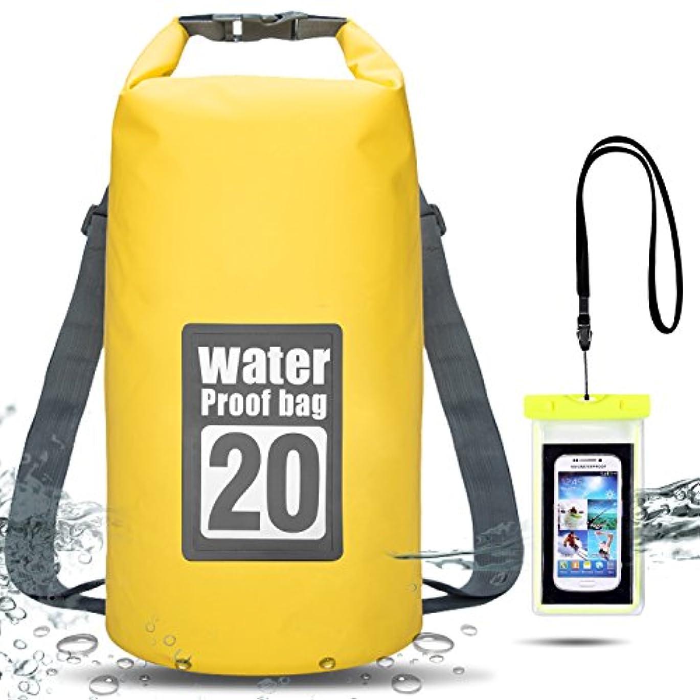 内側疾患増強Bemixc ドライバッグ 防水 リュック 10L 15L 20L プールバッグ 防災バッグ ビーチバッグ ドラム型 スマホ 用 防水ケース付