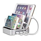MixMart 3ポートUSB 充電スタンド チャージャーステーション 多功能充電スタンド 充電器 スマートフォンスタンド タブレット対応 3個USBポート同時充電 iphone iPad対応 シルバー