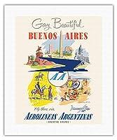 おかしいと美しいです - ブエノスアイレス、アルゼンチン - アルゼンチン航空を経由してそこに飛びます - アルゼンチン航空を経由してそこに飛びます - ダグラスDC-6輸送航空機 - ビンテージな航空会社のポスター によって作成された アドルフ・トレイドラーc.1950s - キャンバスアート - 41cm x 51cm キャンバスアート(ロール)