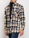 MATTHEW BROWNEE チェック シャツ 長袖 カジュアル ネルシャツ メンズ (日本サイズM(41) キャメルxネイビー)