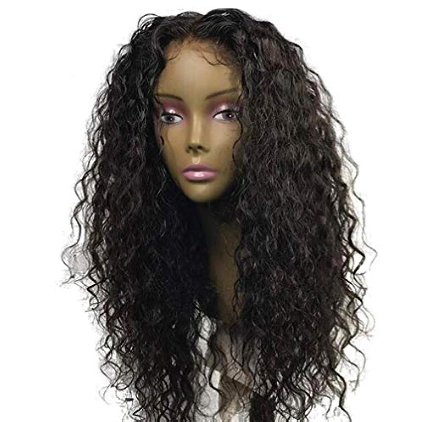 ブランデー賞賛する奴隷女性ブラジルレミー深い波髪かつら150%密度レースフロント人毛ウィッグベビー毛黒55センチ