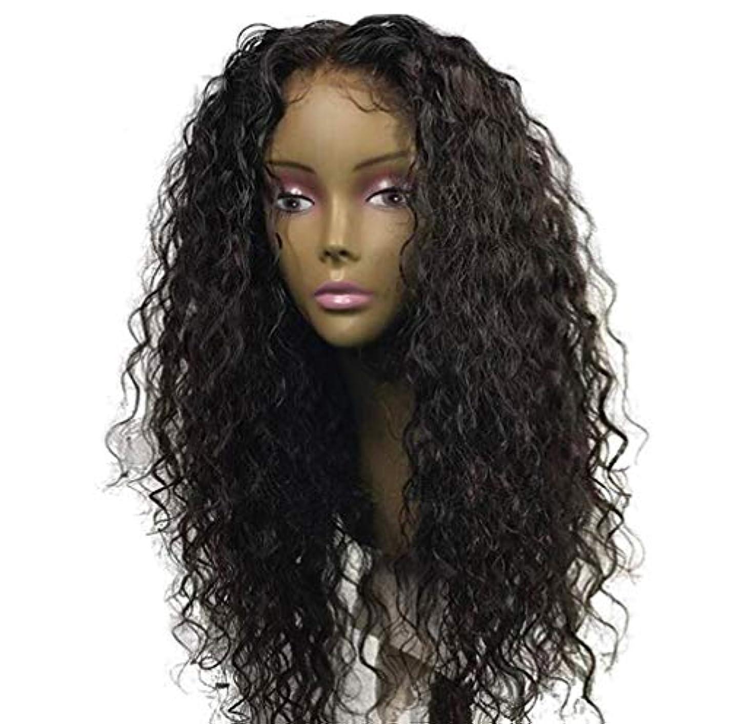 ベルベット策定する戦術女性ブラジルレミー深い波髪かつら150%密度レースフロント人毛ウィッグベビー毛黒55センチ
