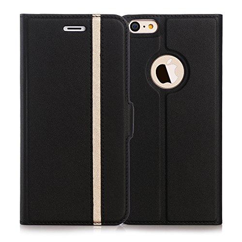 iPhone6s ケース iPhone6ケース,Fyy 100%手作り 高級PUレザー ケース 手帳型 スマホケース スマホカバー 横開き 財布型 カバー カードポケット スタンド機能 マグネット式 スマートフォンケース ブラック