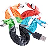 New Crazy USB Cable Charger Noodle Flat Colour TPE Cord for Apple iPhone 8 7 6 iPad X 4ft (5 Packs)