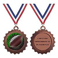 1〜50個パック フットボール ブロンズ Lサイズ 3インチ 刻印メダル トロフィー賞 カスタマイズ可 D03-FCL475