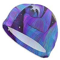 Sloth Moonlight スイムキャップ 競泳 水泳帽 スイミングキャップ ストレッチ 海水浴 水泳キャップ 大人用 男女兼用 耐久性 無地 お洒落 柔軟な弾力 浸水防止 通気