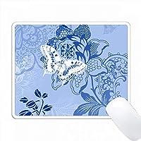 青い花の背景に白い蝶 PC Mouse Pad パソコン マウスパッド