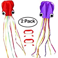 jsdoin 2パックkite-beautiful Large Easy Flyer Kite for Kids – Red Mollusc octopus-it 's Big 。31インチWide with Long Tail 157インチlong-perfectのビーチで公園またはカイトライン30メートル送信