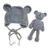 TOOGOO 新生児熊ハットビーニー帽熊の人形で写真アクセサリー