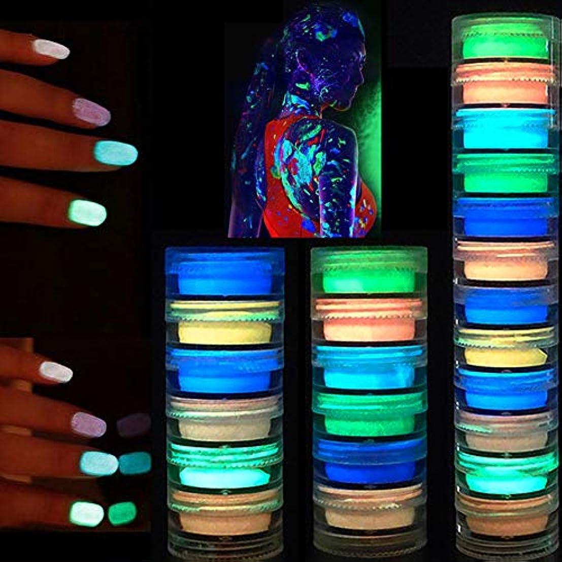周辺今発生するMurakush 12色蛍光ネイルグリッターパウダーライトルミナスウルトラファイングローイングピグメントネオンネイルパウダー