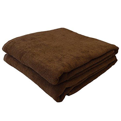 業務用タオル 200cm 大判バスタオル 同色2枚セット(ブラウン)