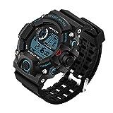 Bloomier 多機能スポーツウォッチ 腕時計 防水30M 防衝撃 メンズ時計 (ブラック + ブルー)