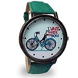 ZooooM 自転車 プリント ウォッチ シンプル デザイン 文字盤 おもしろ アナログ 腕 時計 ファッション アクセサリー ユニーク カジュアル メンズ 男性 (グリーン) ZM-NISHIUE-GR