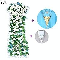 人工ブドウの花-人工吊り花夏秋を祝う手作りのドアリースワイルドフラワー装飾 (Color : White, Size : 5pieces)