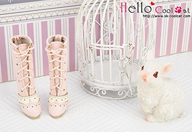 ドール用 coolcat ハイヒールバイカラー編上げブーツ ピンク07-03
